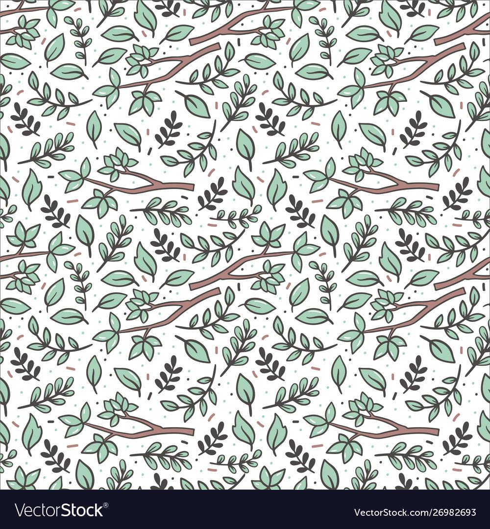 Green twigs flat seamless pattern