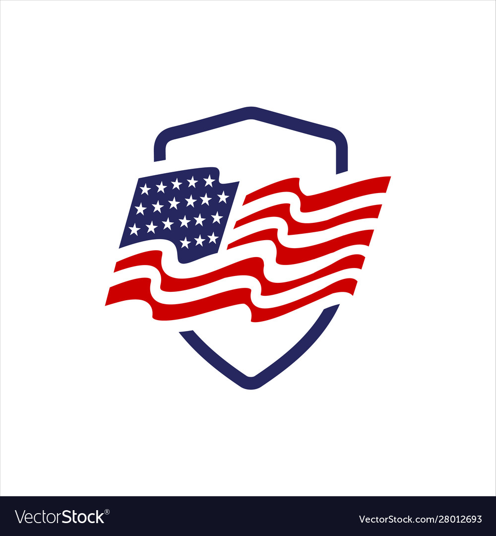 Red blue star and stripes america us flag logo