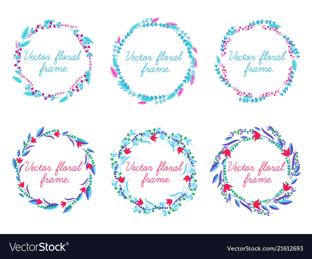 Set of floral frame