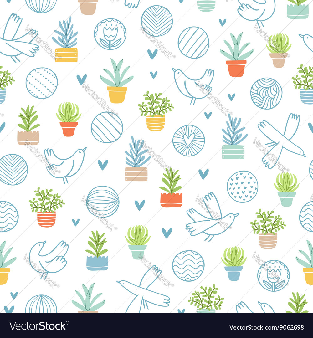 Birds and succulents doodle pattern