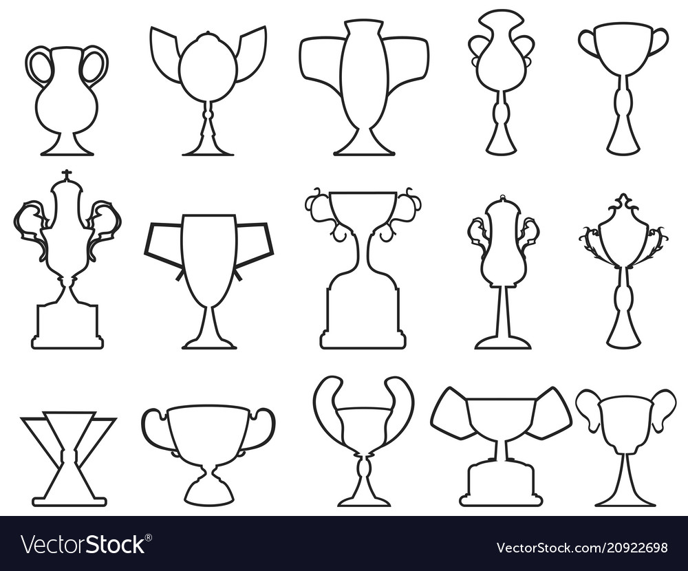 Black champion cup outline icons set