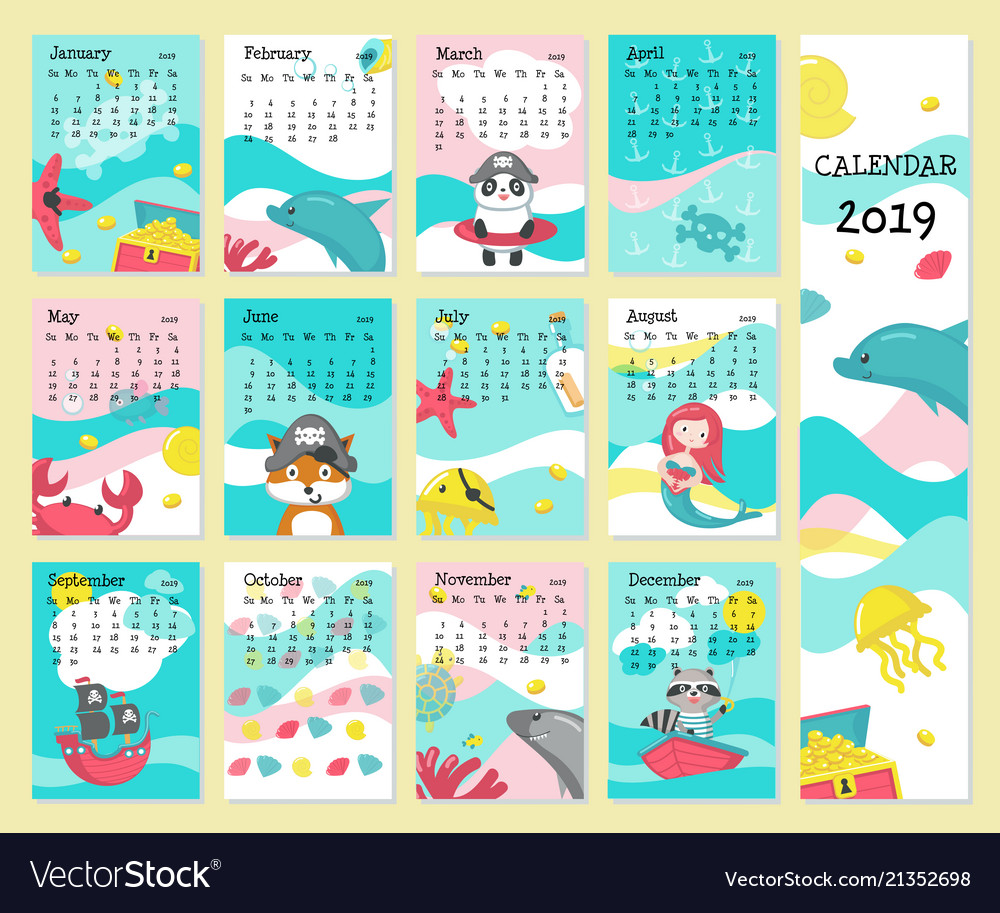 Calendar 2019 Template With Pirate Animals Vector Image
