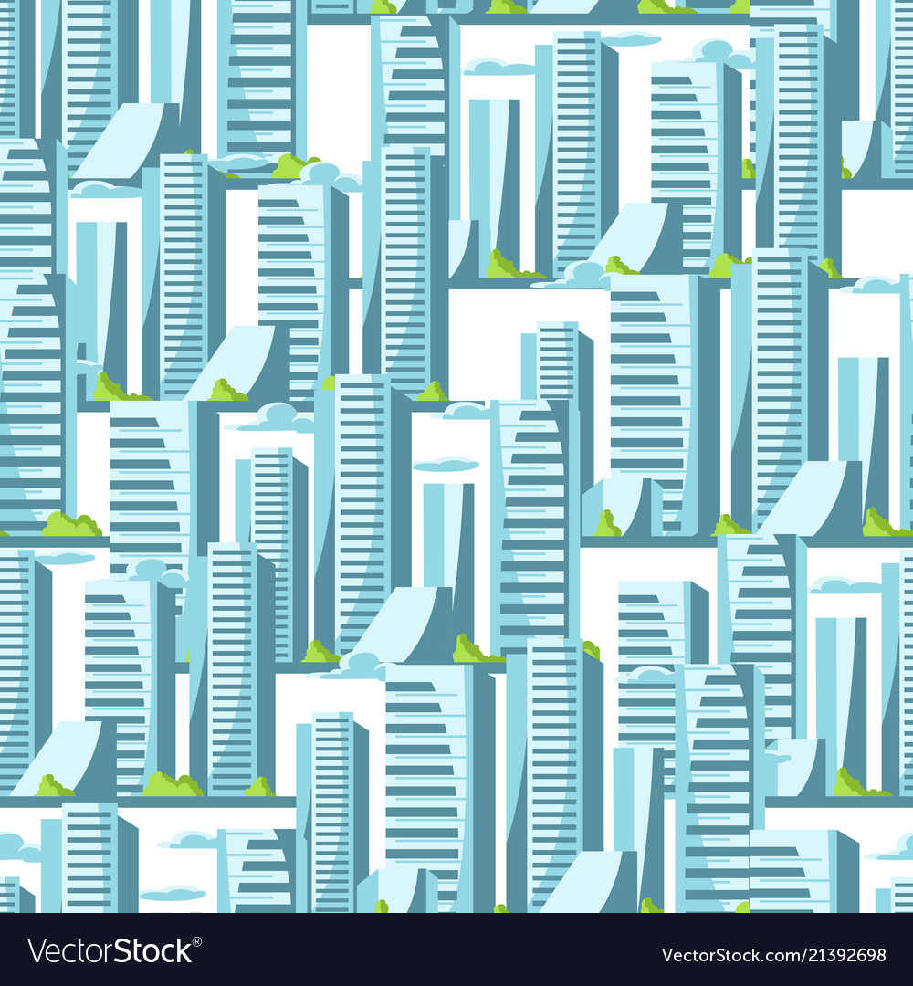 City skyscrapers seamless pattern in blue colors