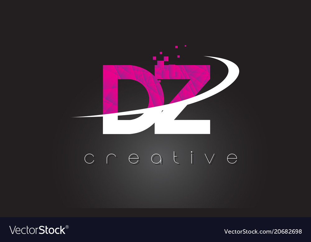 Dz d z creative letters design with white pink