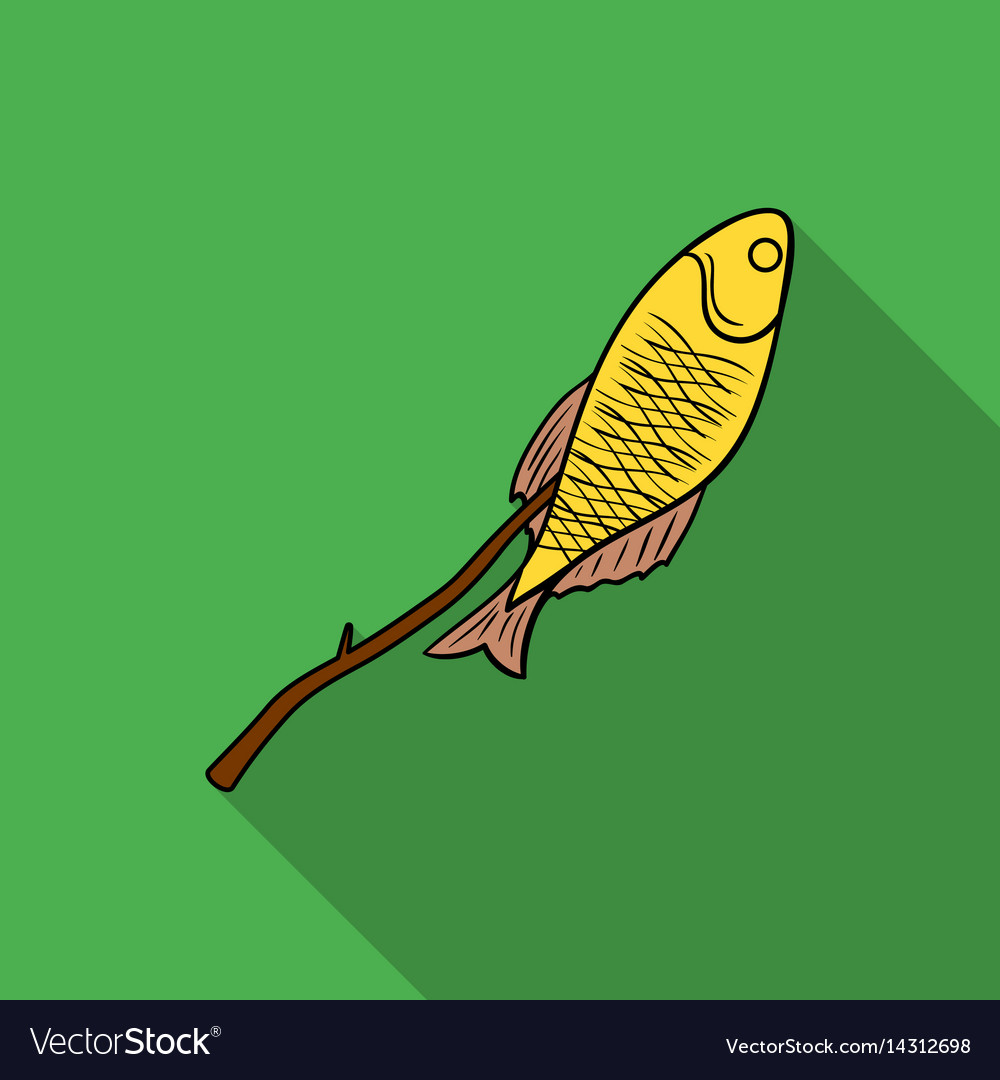 Fried fish icon in flat style isolated on white