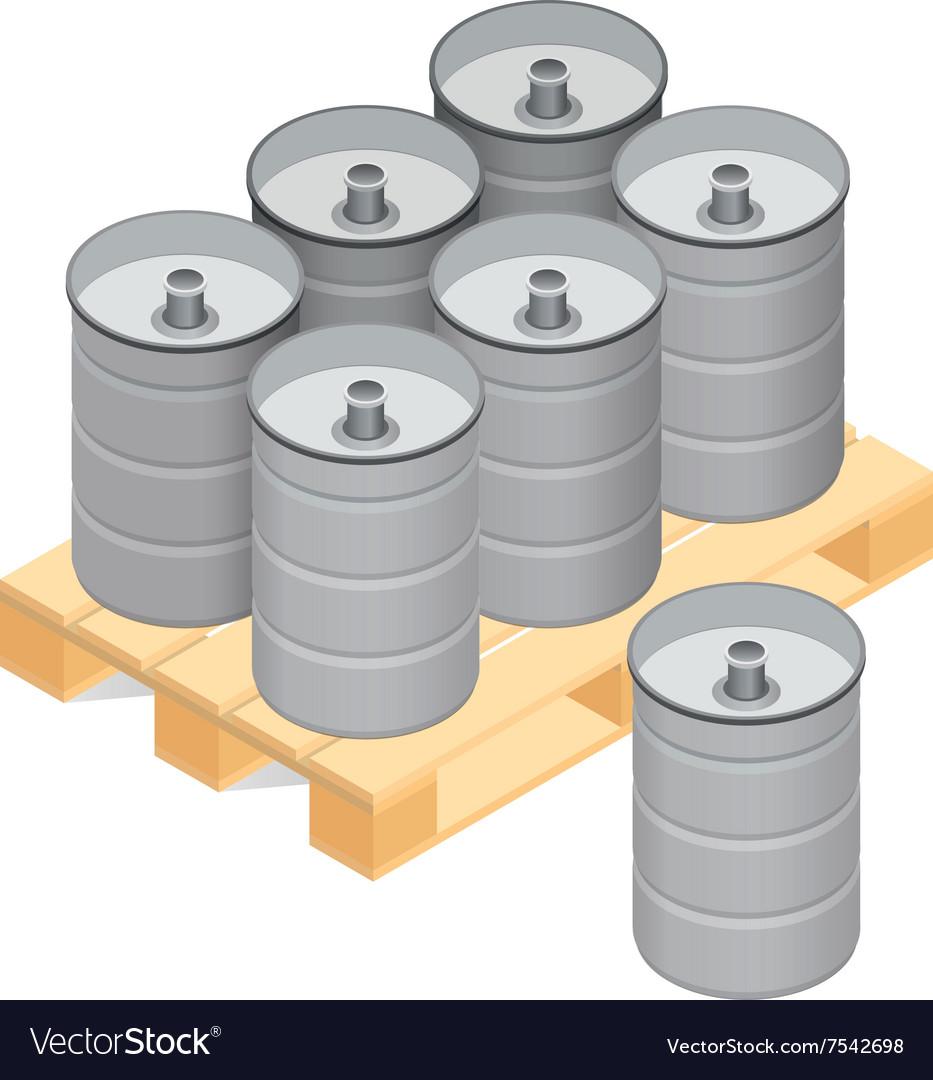 Isometric beer kegs on wooden pallet