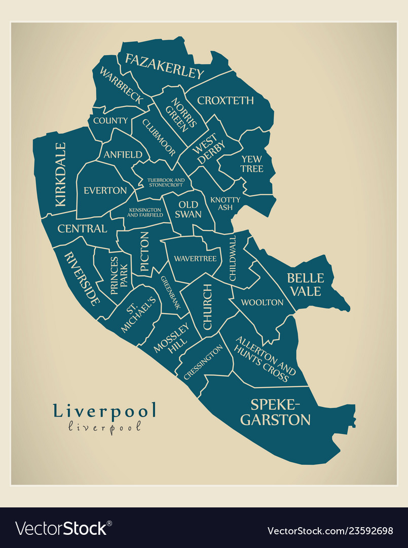 Everton England Map.Modern City Map Liverpool City Of England With Vector Image