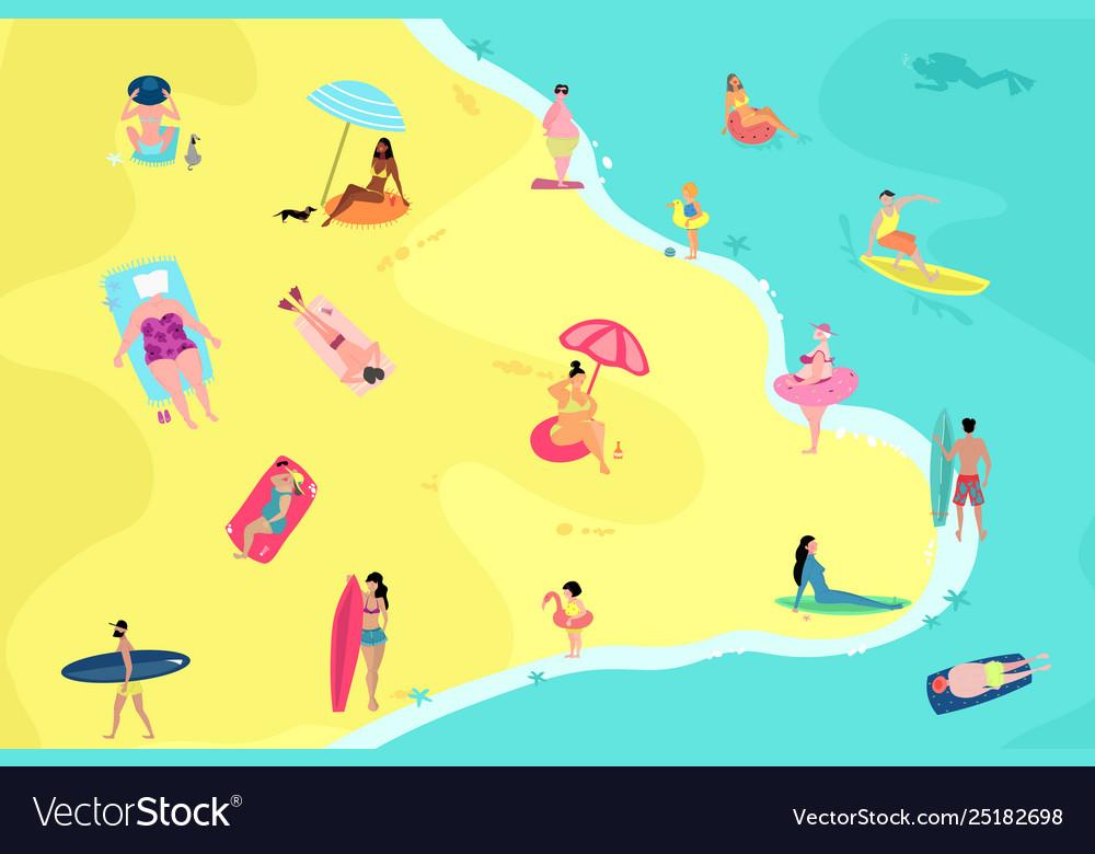 People having fun on beach summer vacation