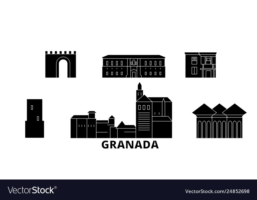 Spain granada flat travel skyline set spain