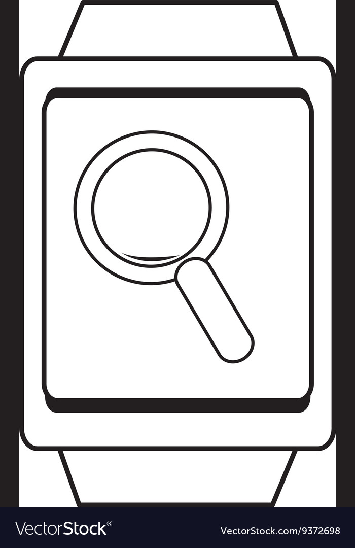 Square watch and lens icon graphic