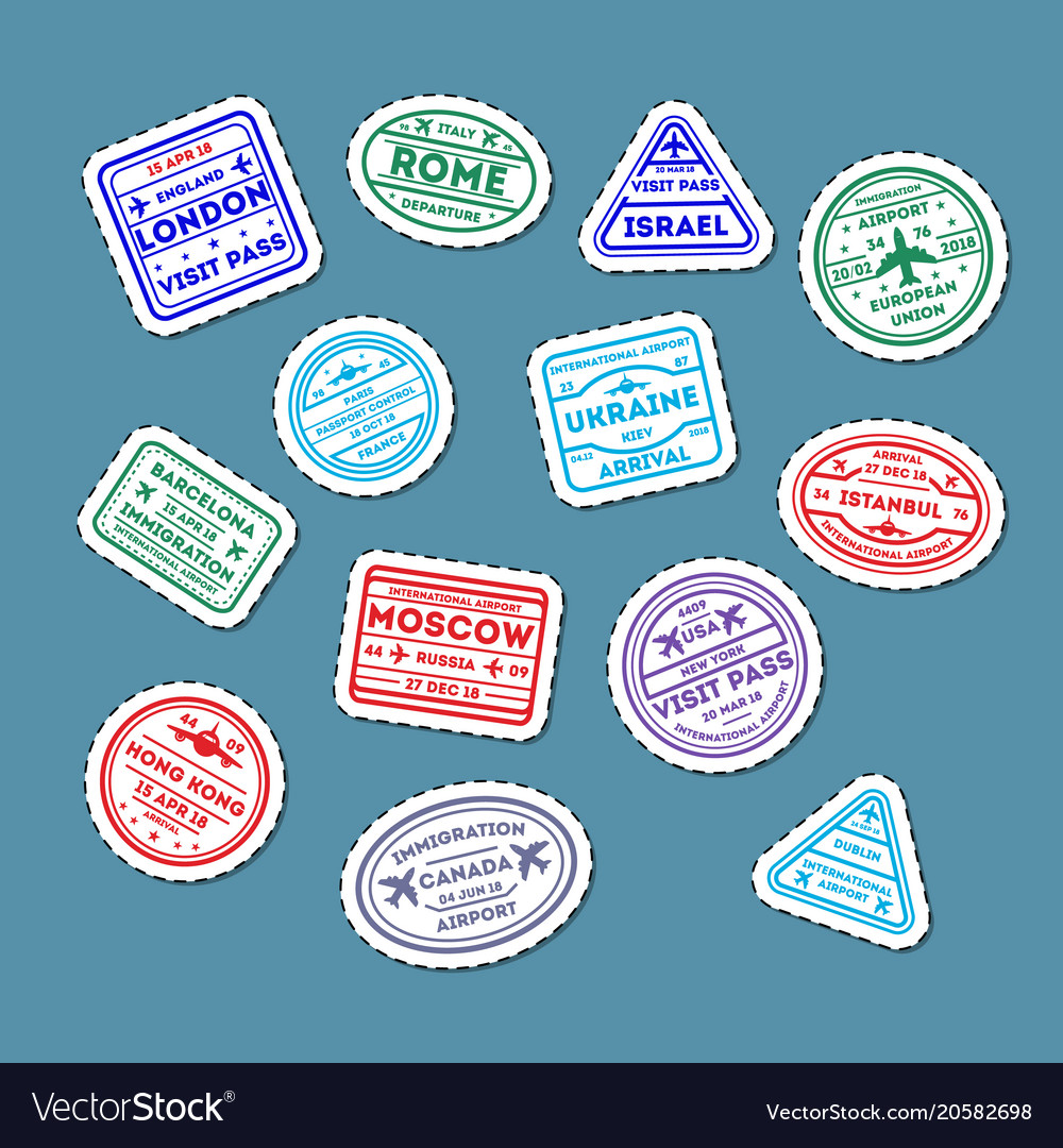 Visa rubber stamps on passport isolated set