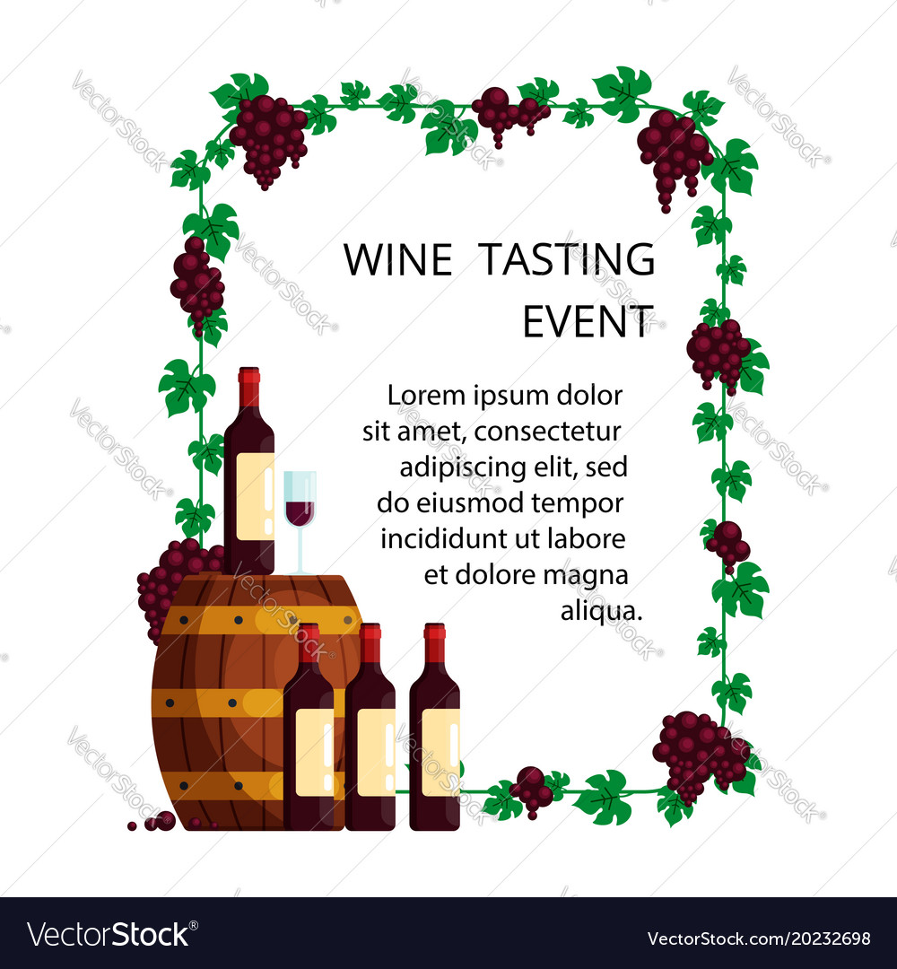 Wine tasting concept for invitation card vector image