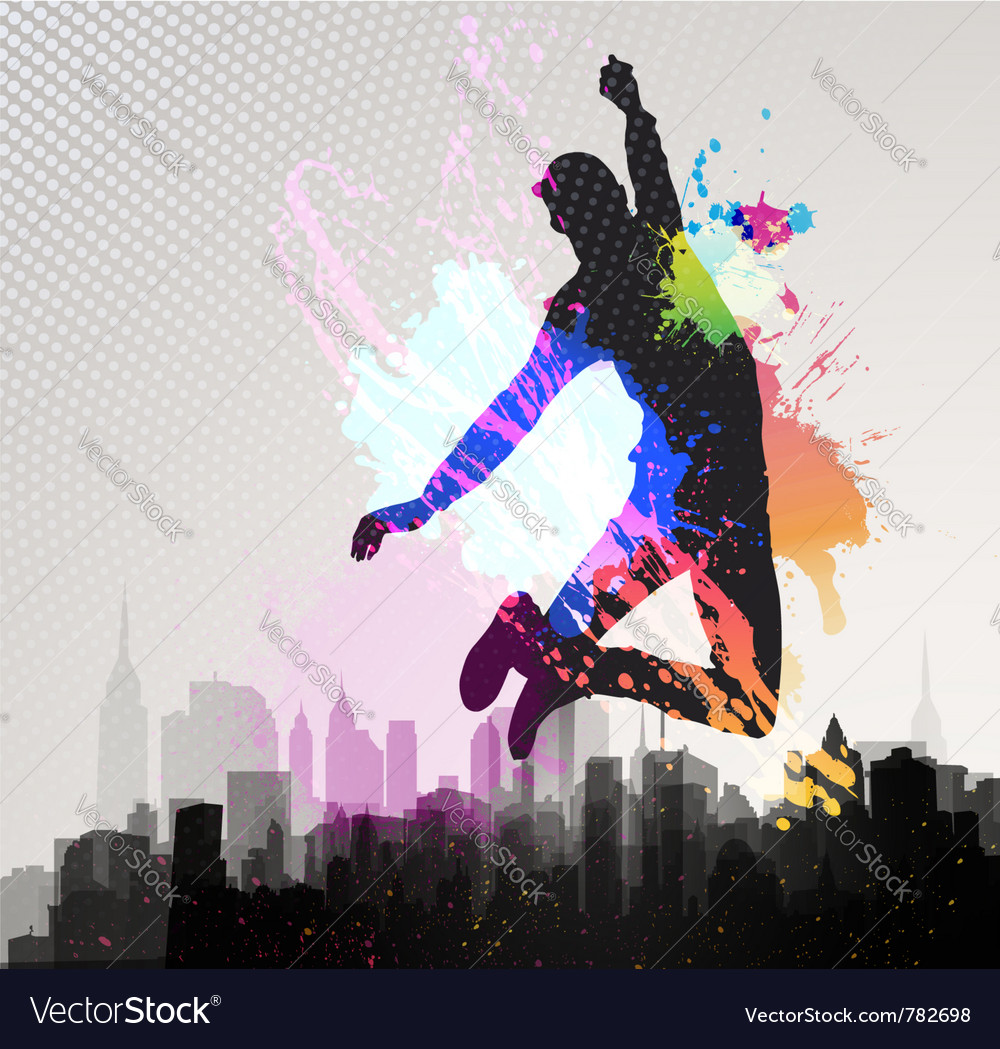 Young man jumping over city