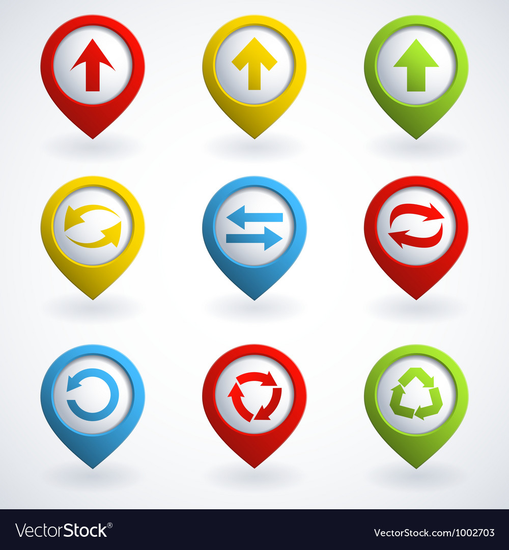 Arrows buttons set vector image