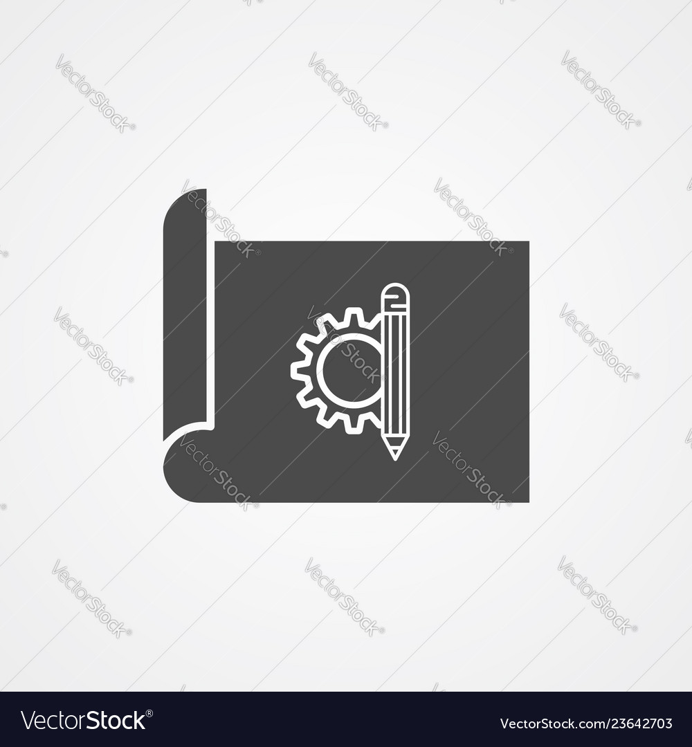 Blueprint paper icon sign symbol