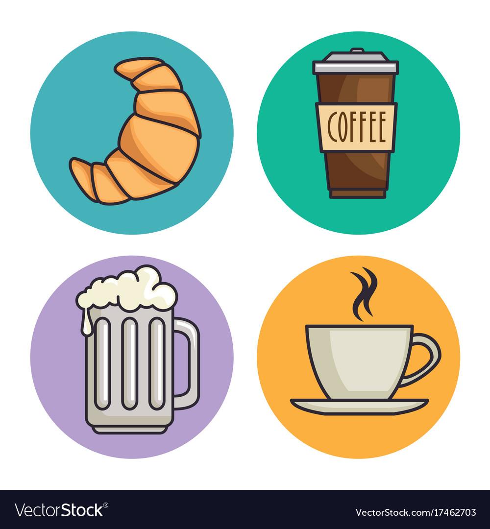 Bread and beverage icon vector image