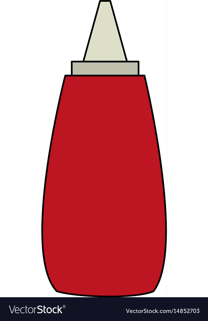 Color image cartoon red jar with tomato sauce