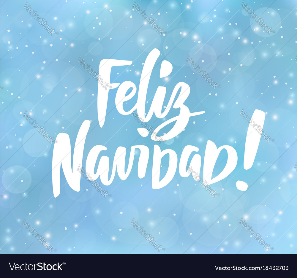feliz navidad spanish merry christmas text vector image