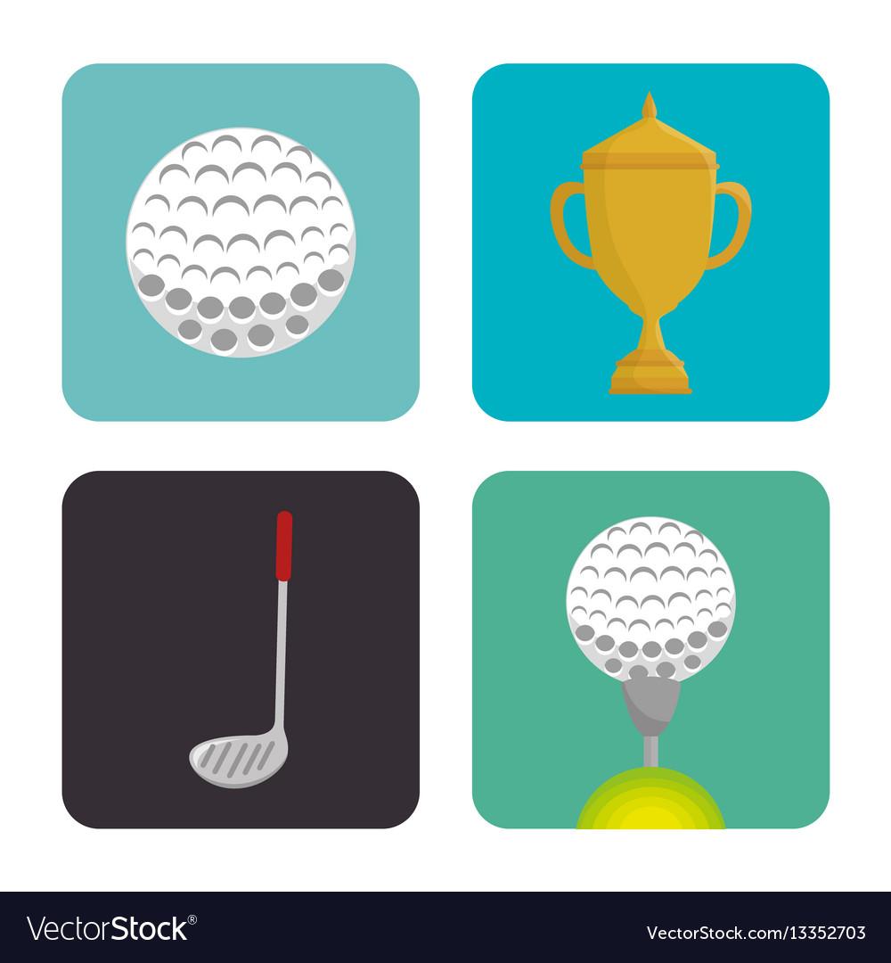 Golf sport set icons emblem