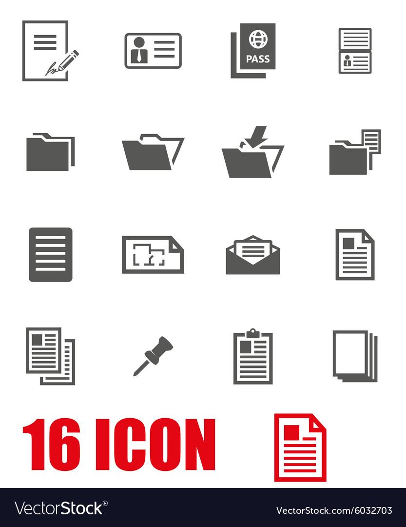 Grey document icon set