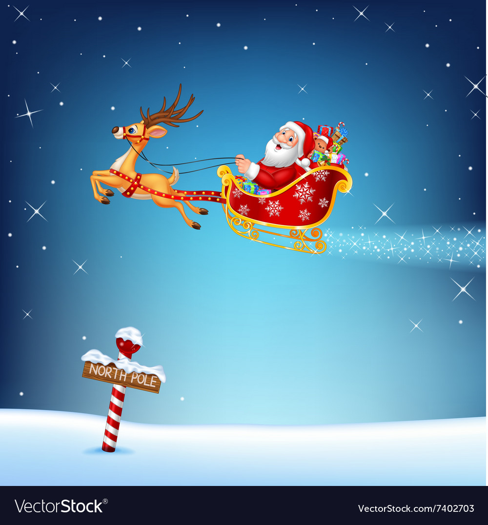 Happy Santa in his Christmas sled being pulled by vector image