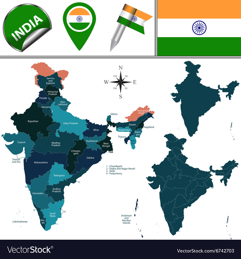 India map with named divisions