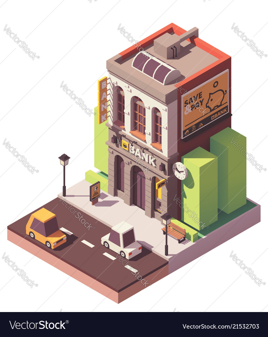 Isometric old bank building
