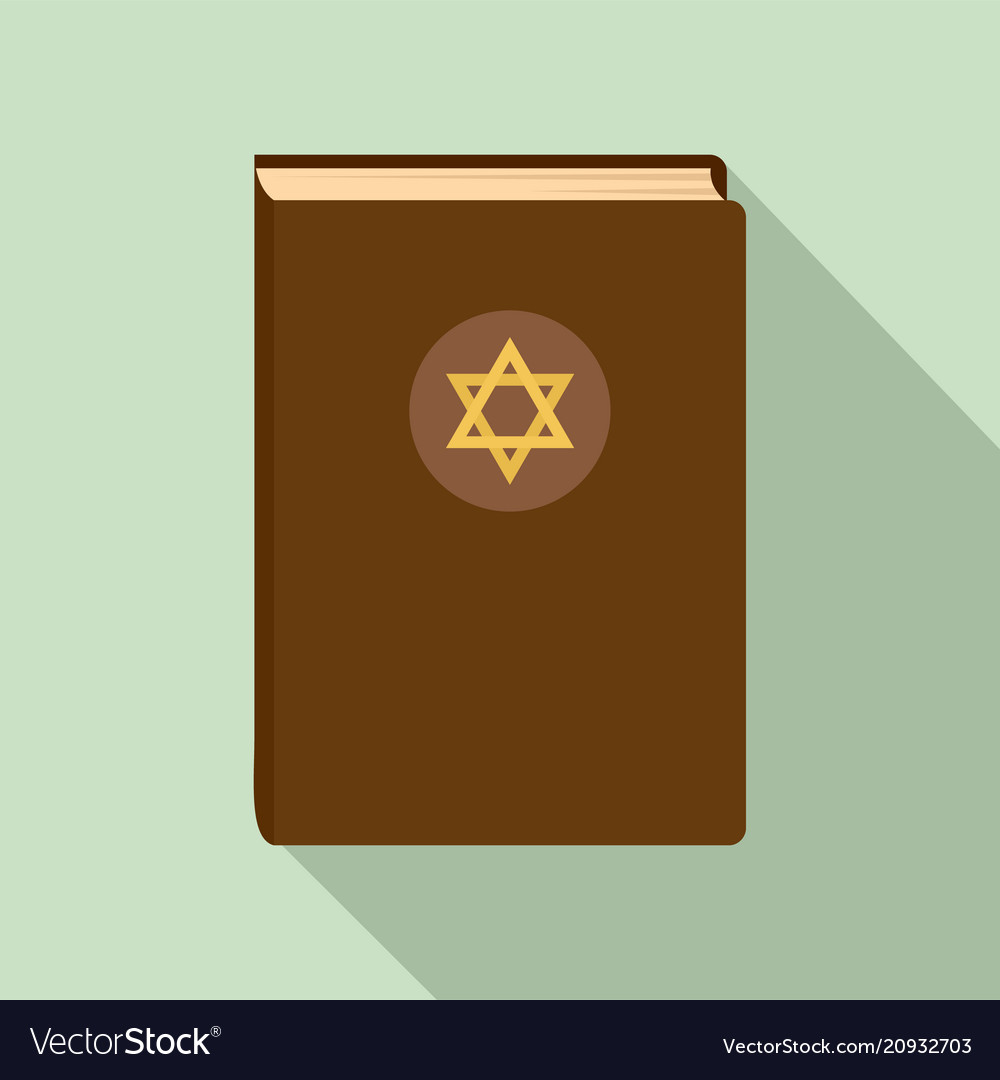 Judaism book icon flat style