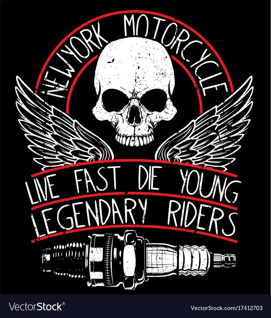 Motorcycle skull tee graphic design