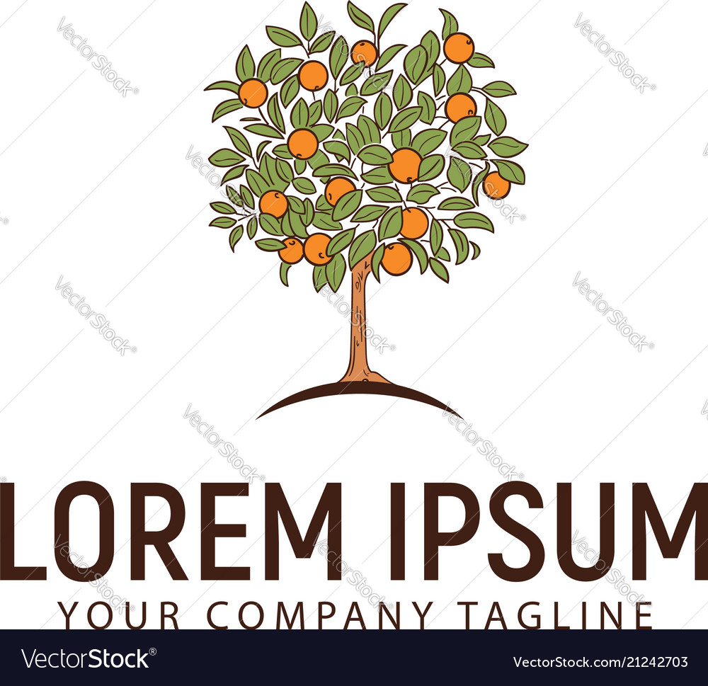 Orange tree logo design concept template