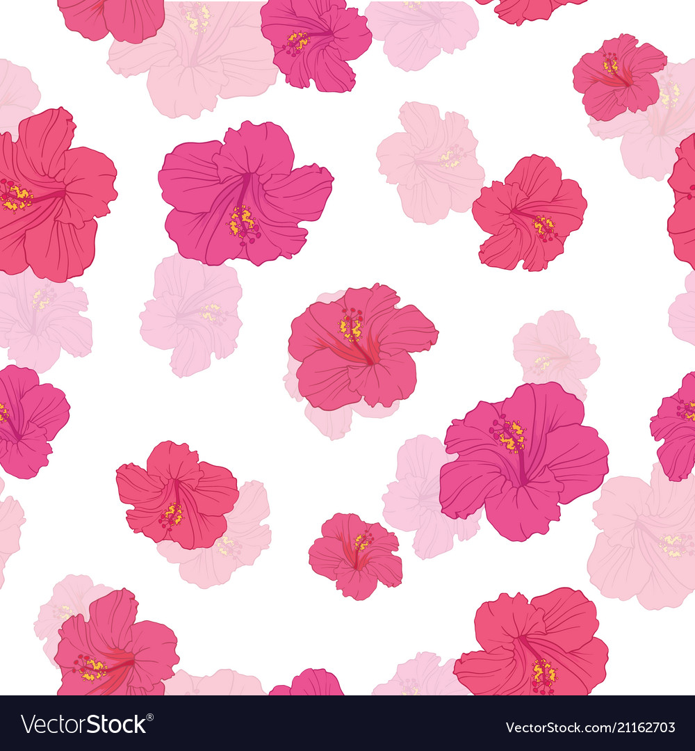 Pink hibiscus flowers seamless repeat pattern