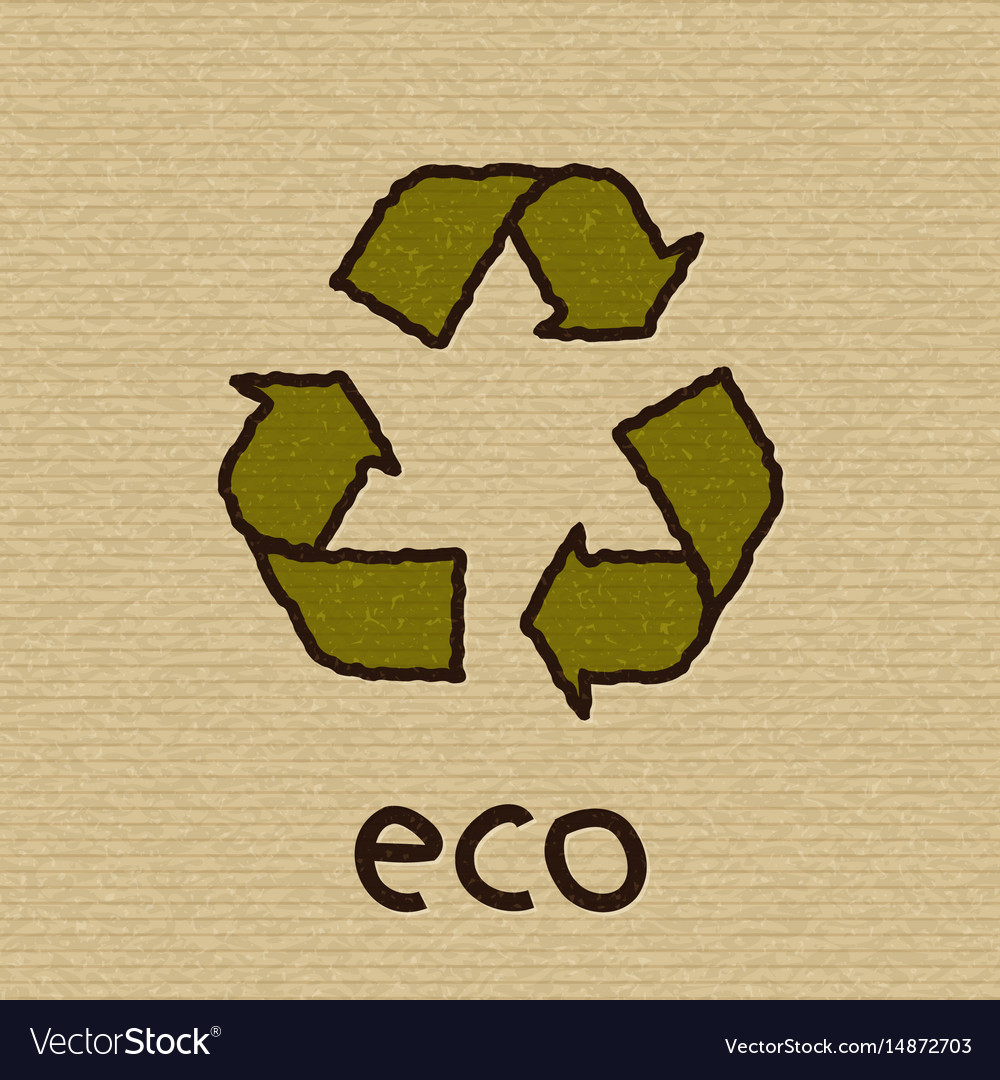 Recycle symbol on cardboard eco