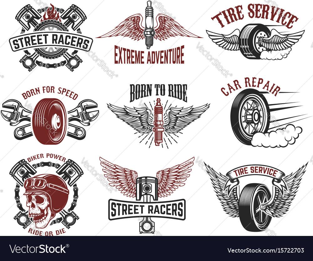 Set of tire service car repair labels pistons car
