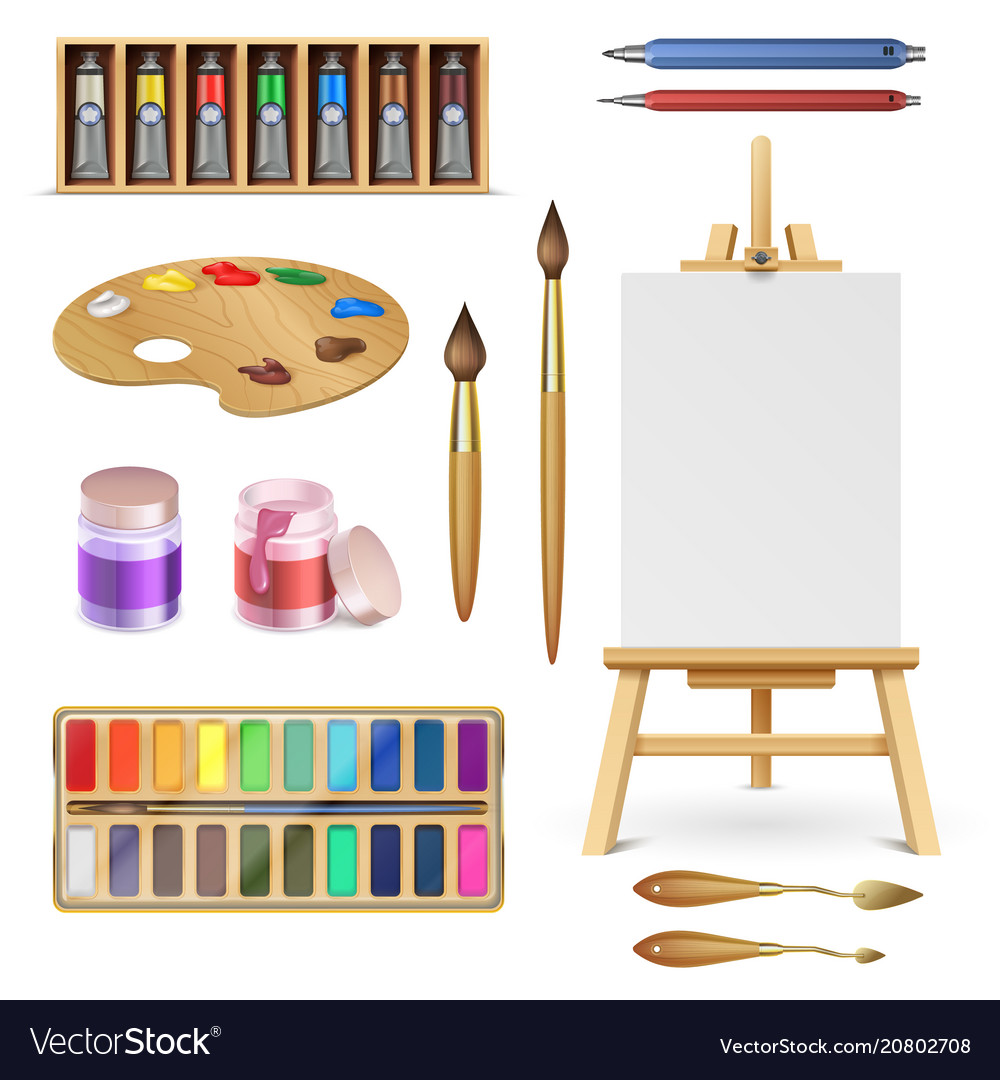 Artistic tools and art supplies with easel