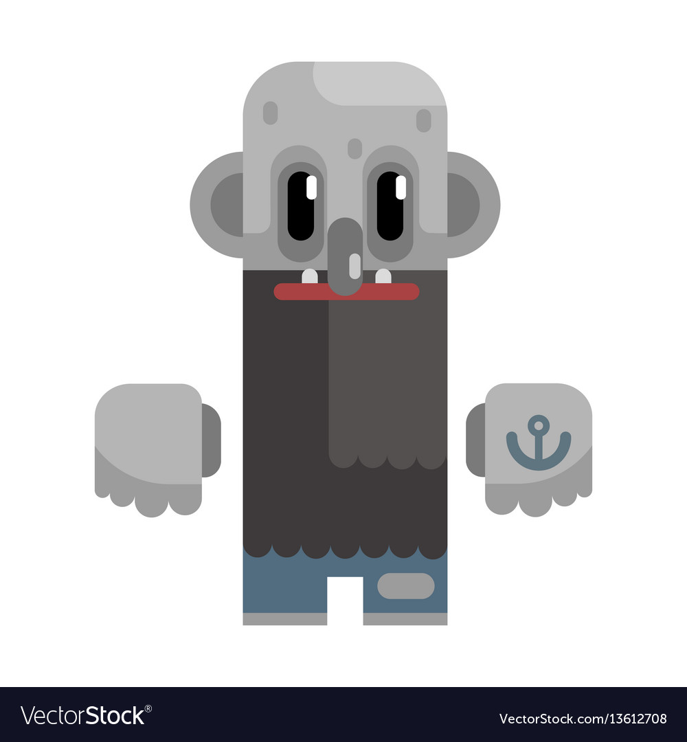Bold tramp with long beard and grey skin vector image