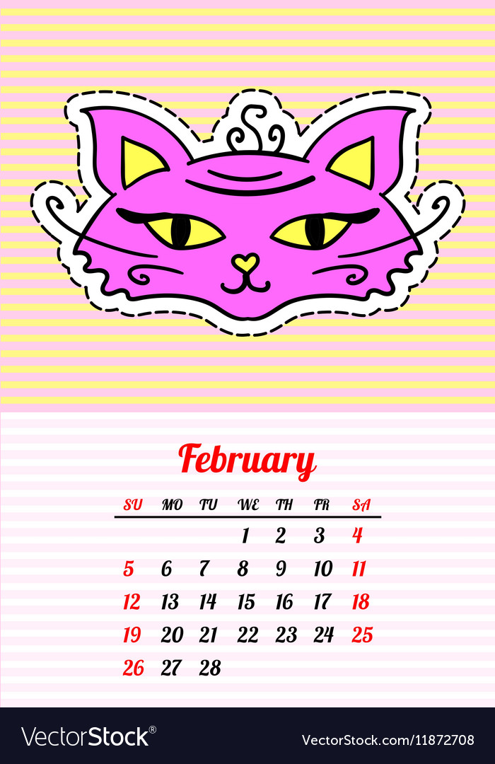 Calendar 2017 with cats February In cartoon 80s