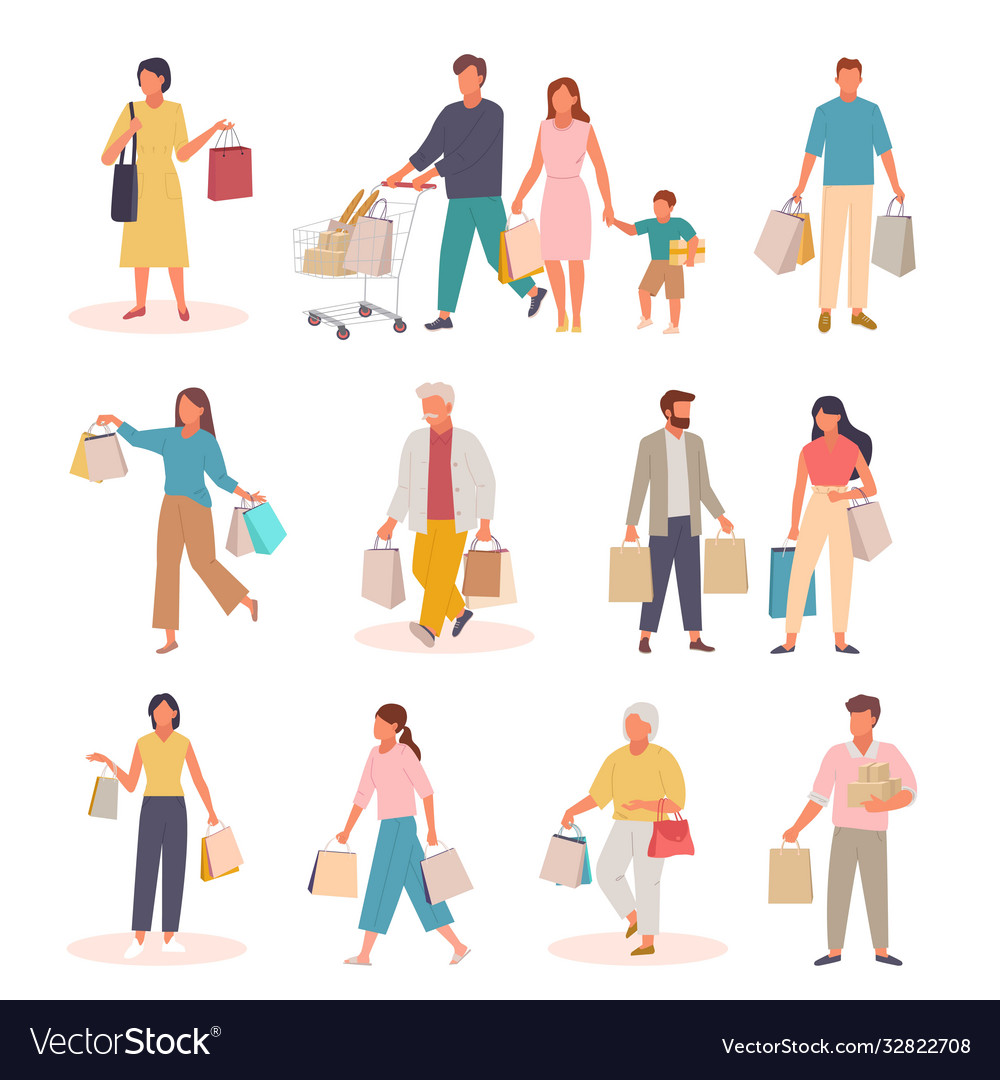 Characters with shopping set people with paper