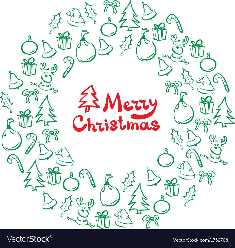 Christmas wreath of sketch doodles
