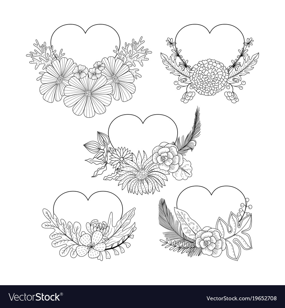Floral heart shape frame collection doodle style Vector Image