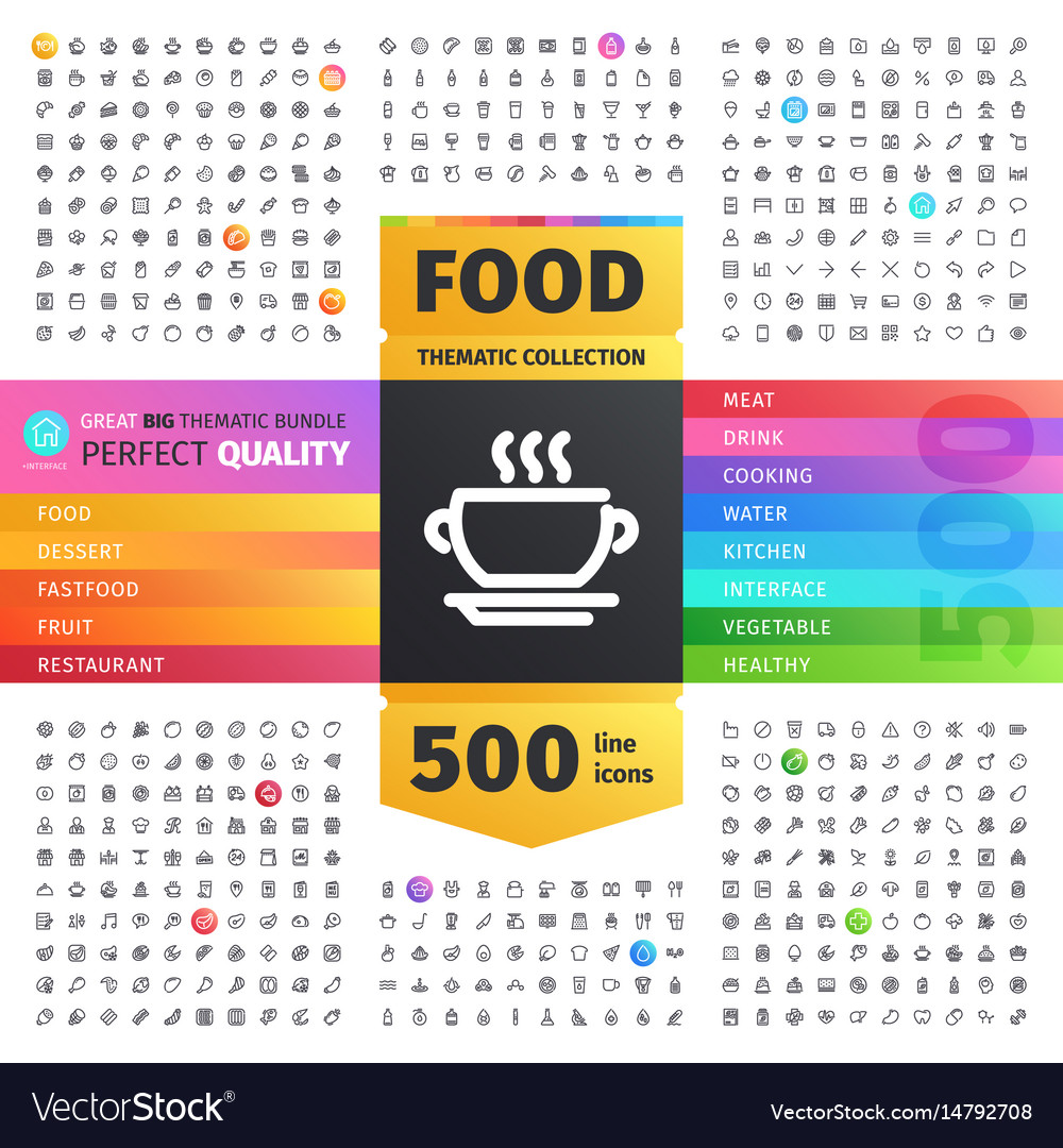 Food thematic collection line icons