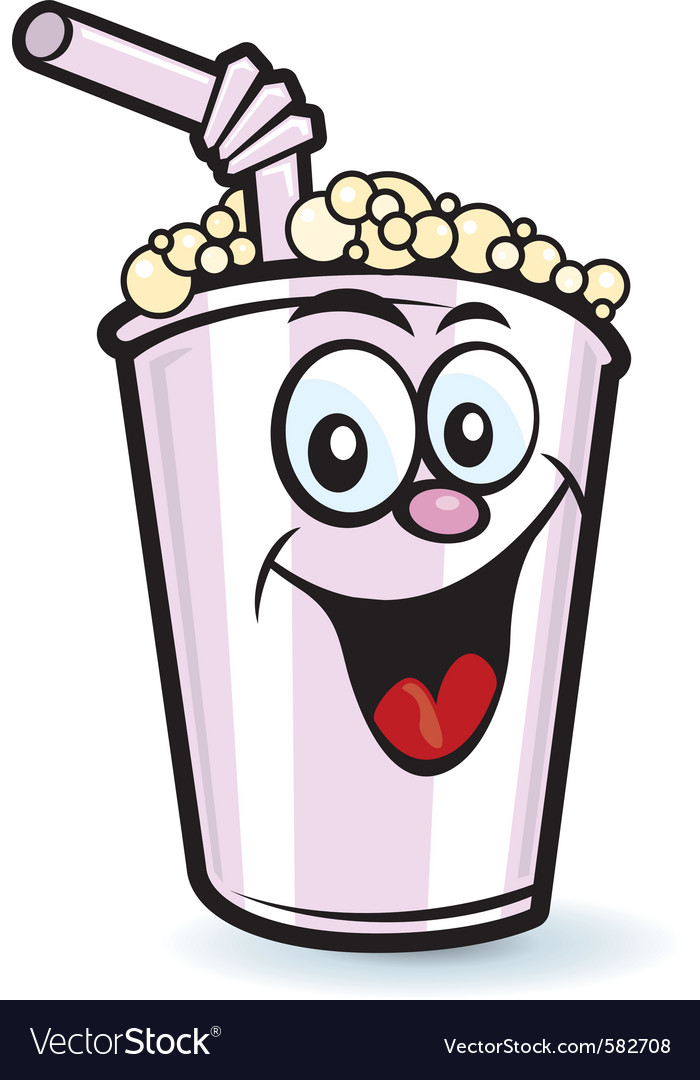 Happy milkshake character vector image