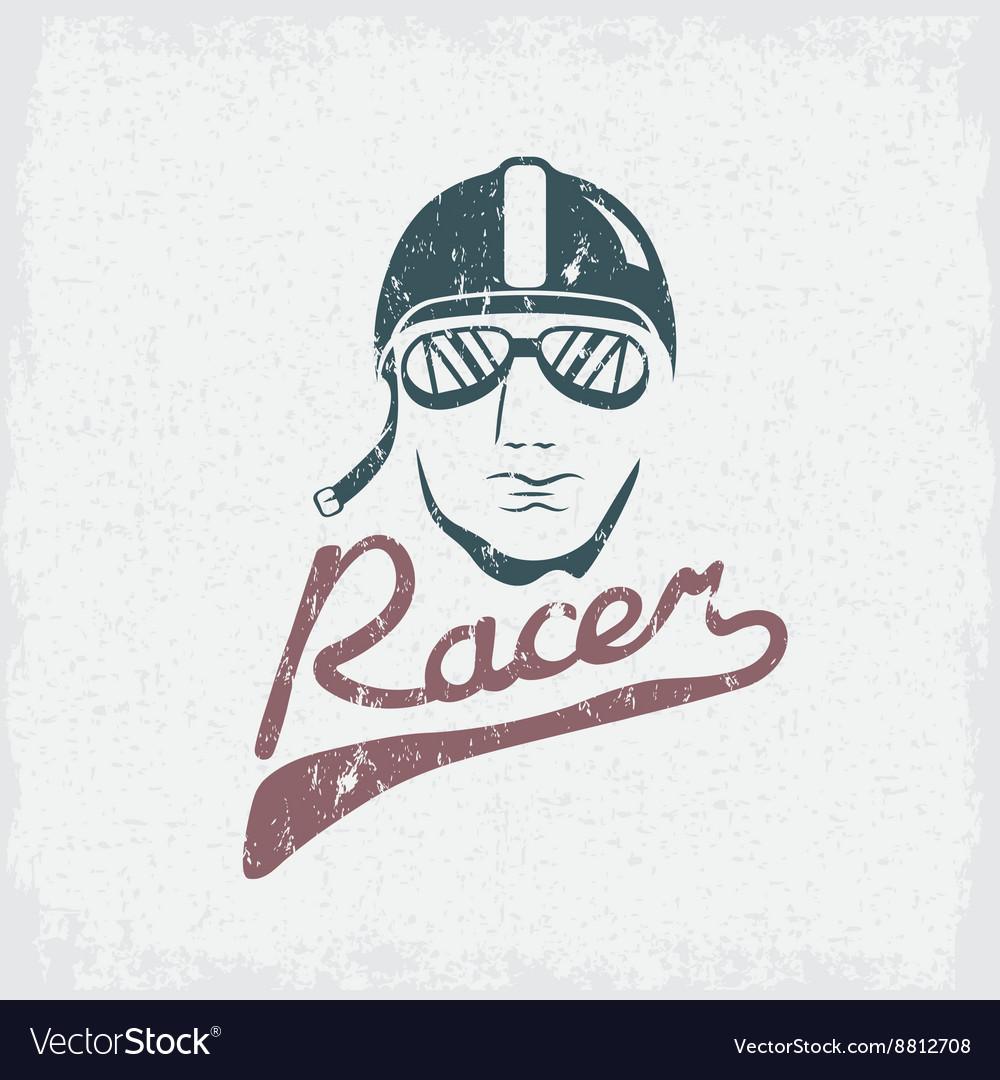 Head of racer vintage grunge design template
