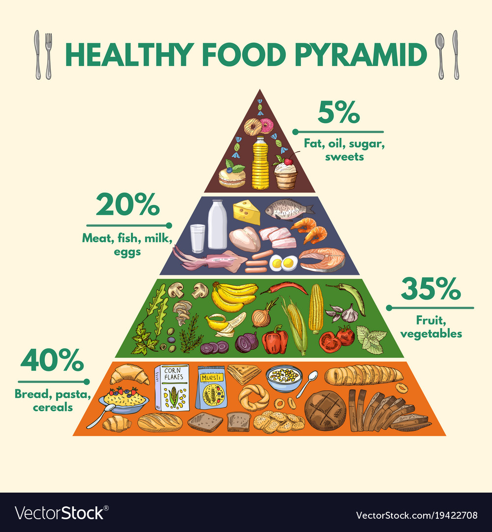 Healthy food pyramid infographic pictures with