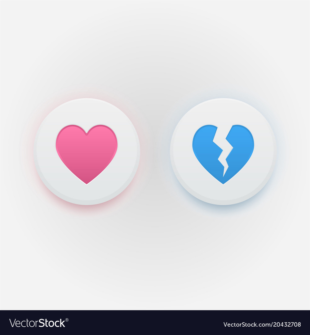 Heart Icons Like And Dislike Royalty Free Vector Image