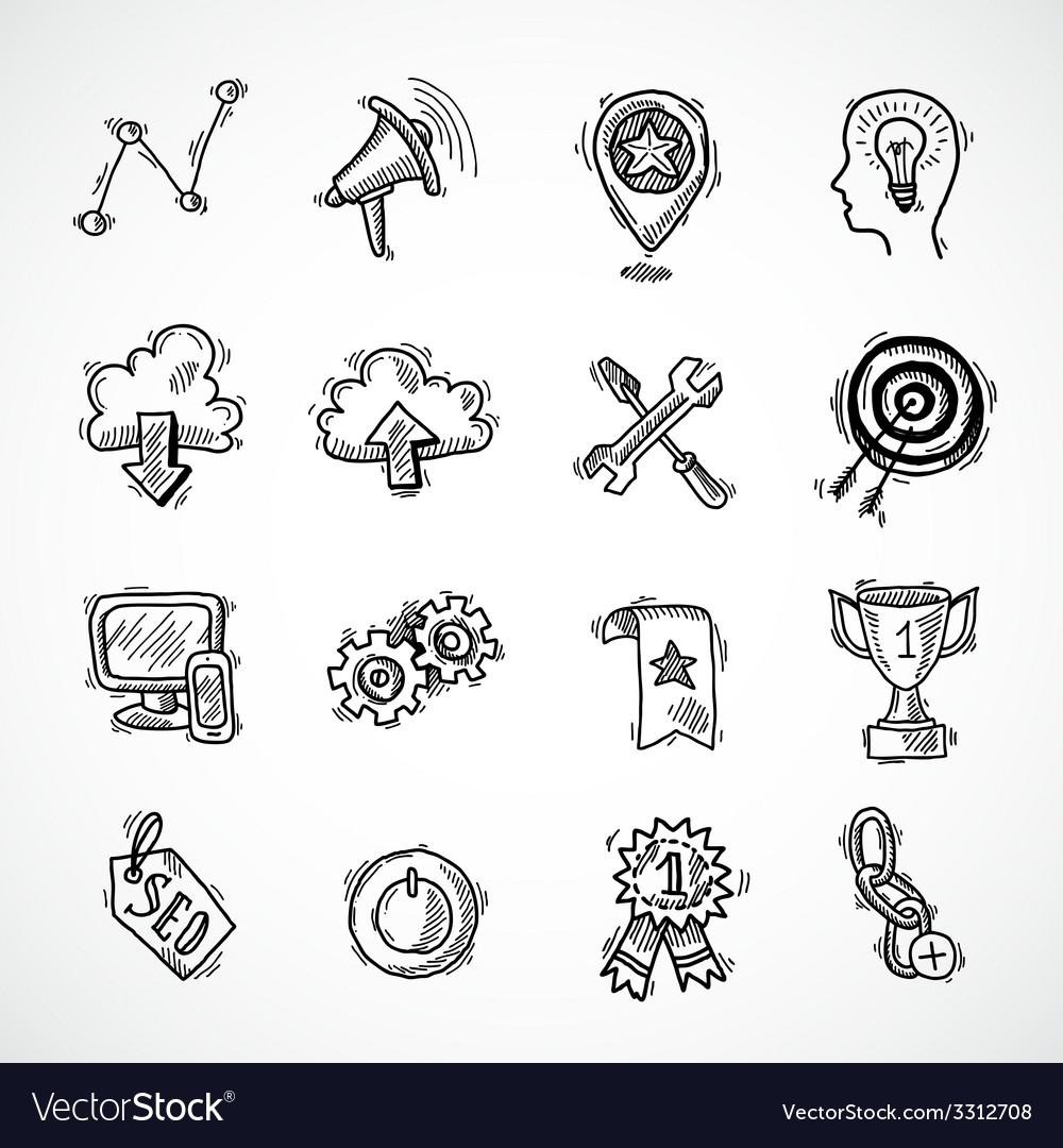 SEO internet marketing sketch set