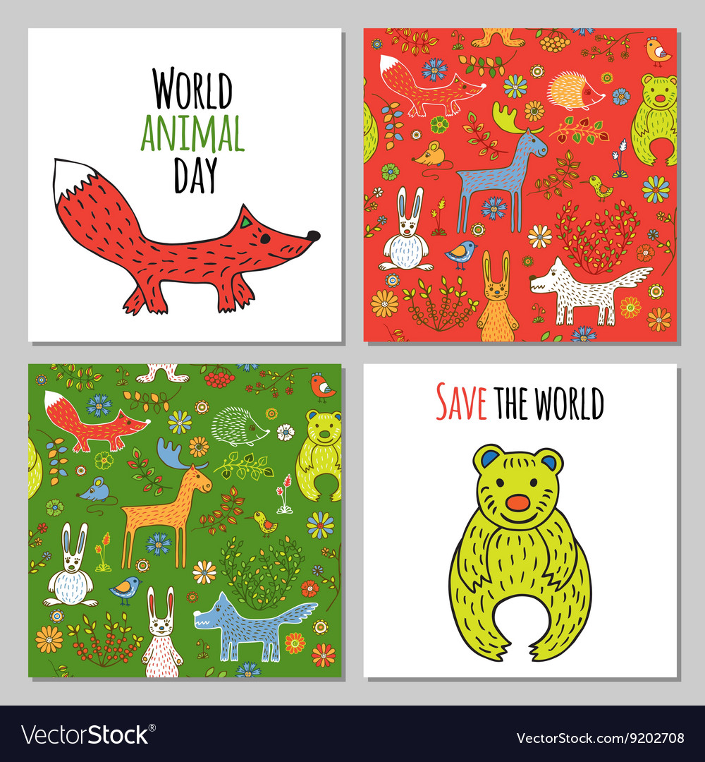 Set of woodland animals vector image