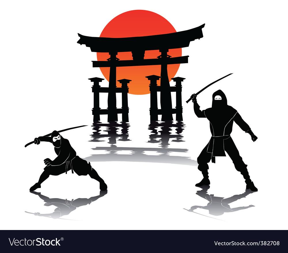 Two ninjas battling vector image