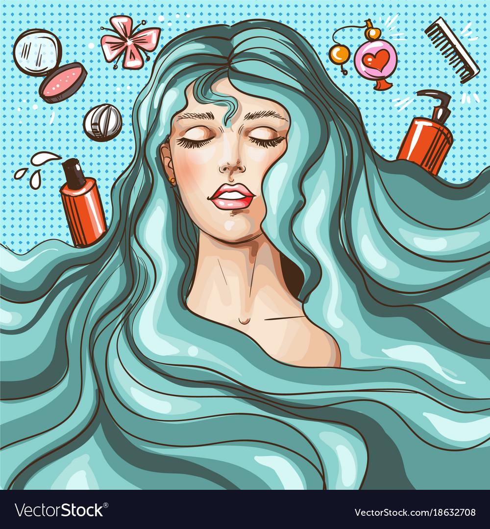 Vintage Pop Art Beauty Salon Poster Vector Image