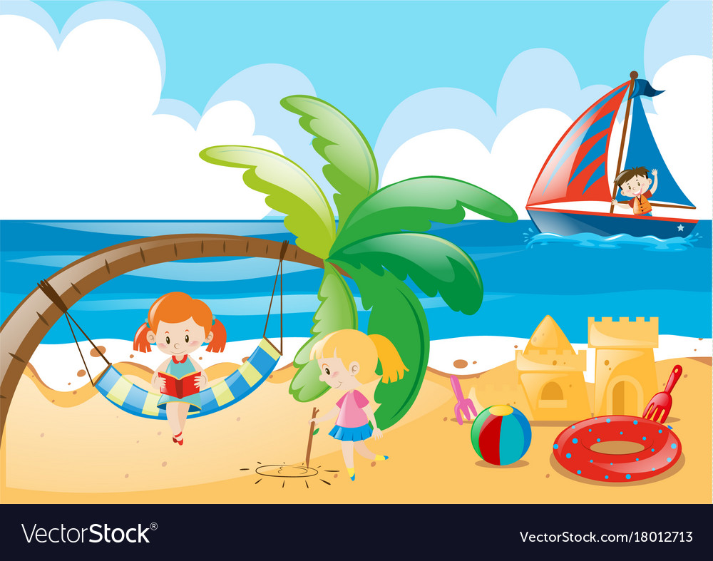 Beach Scene With Kids Playing Royalty Free Vector Image