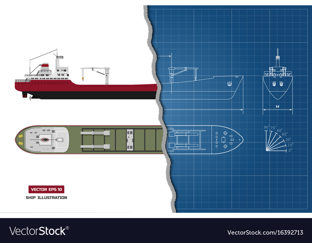 Blueprint of cargo ship top side and front vector image malvernweather Choice Image